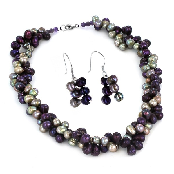 Sterling Silver Brown Freshwater Pearl Beaded Necklace and Earring Set