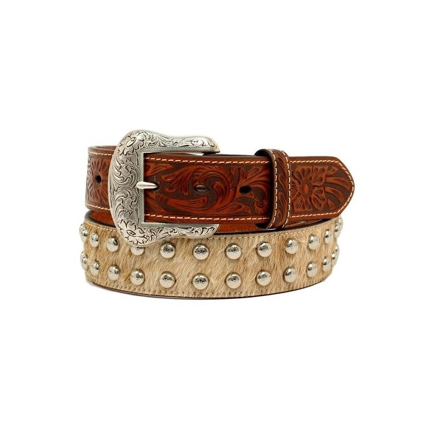 Nocona Western Belt Mens Calf Hair Studs Embossed Leather