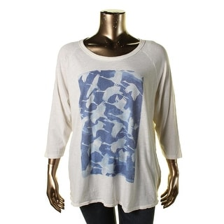 Lucky Brand Womens Plus Graphic 3/4 Sleeves Pullover Top
