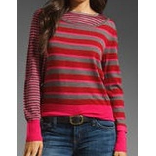 Marc by Marc Jacobs NEW Pink Women's XS Striped Crewneck Wool Sweater