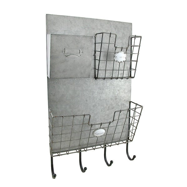 Shop Rustic Metal 3 Compartment Mail Center Wall Organizer With Key