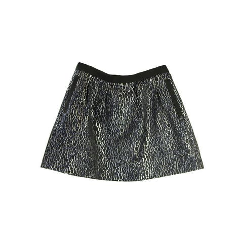 French Connection Dark Brown Metallic Printed Flared Skirt