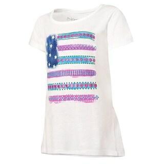 Hanes Girls' Boho Flag Peplum Tee - Size - S - Color - Boho Flag/White