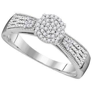 1/6Ctw Diamond Fashion Bridal Engagement Ring 10K White-Gold