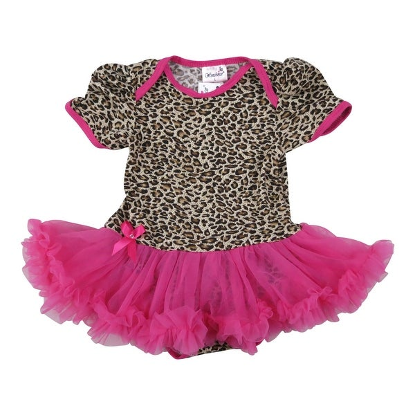 Wenchoice Baby Girls Leopard Print Tutu Short Sleeve Bodysuit
