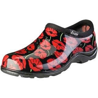 Sloggers 5116POR08 Red Poppies Women's Rain and Garden Shoe, Size 8