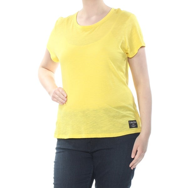 5e5739c76 CALVIN KLEIN Womens Yellow Embroidered Heather Calvin Klein Jeans Short  Sleeve Crew Neck T-Shirt Top Size: XL