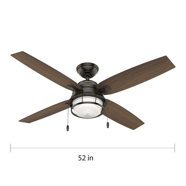 """Hunter 52"""" Ocala Outdoor Ceiling Fan with LED Light Kit and Pull Chain, Damp Rated"""