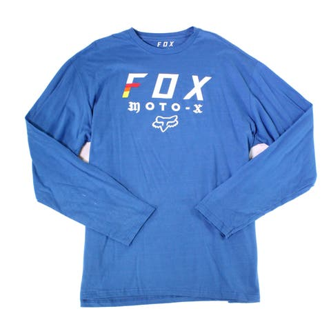 FOX Mens T-Shirt Blue Size Small S Long-SleeveGraphic-Print Crewneck Tee