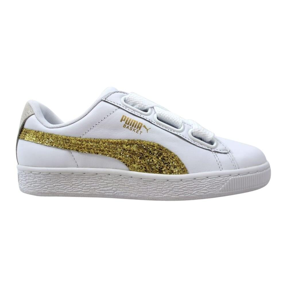 Puma Basket Heart Glitter Puma White Gold 364078 01 Women S