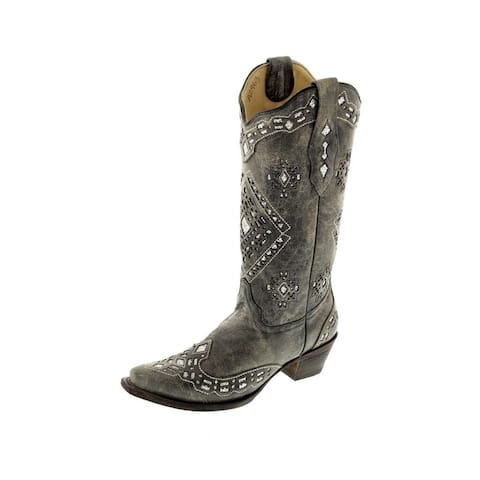Corral Western Boots Womens Leather Inlay Cowboy Snip Toe Black