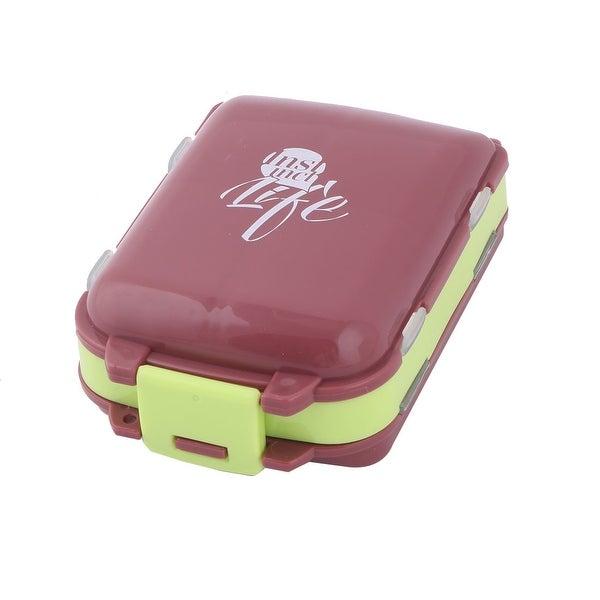 Outdoor Plastic 8 Compartments Capsule Pills Foldable Storage Box Case Dark Brown