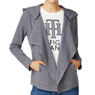 Tommy Hilfiger NEW Blue Womens Size Small S Open-Front Hooded Jacket