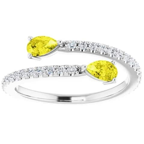 5/8 Ct Fancy Yellow Pear Shape Diamond 2-Stone By Pass Ring Lab Grown White Gold