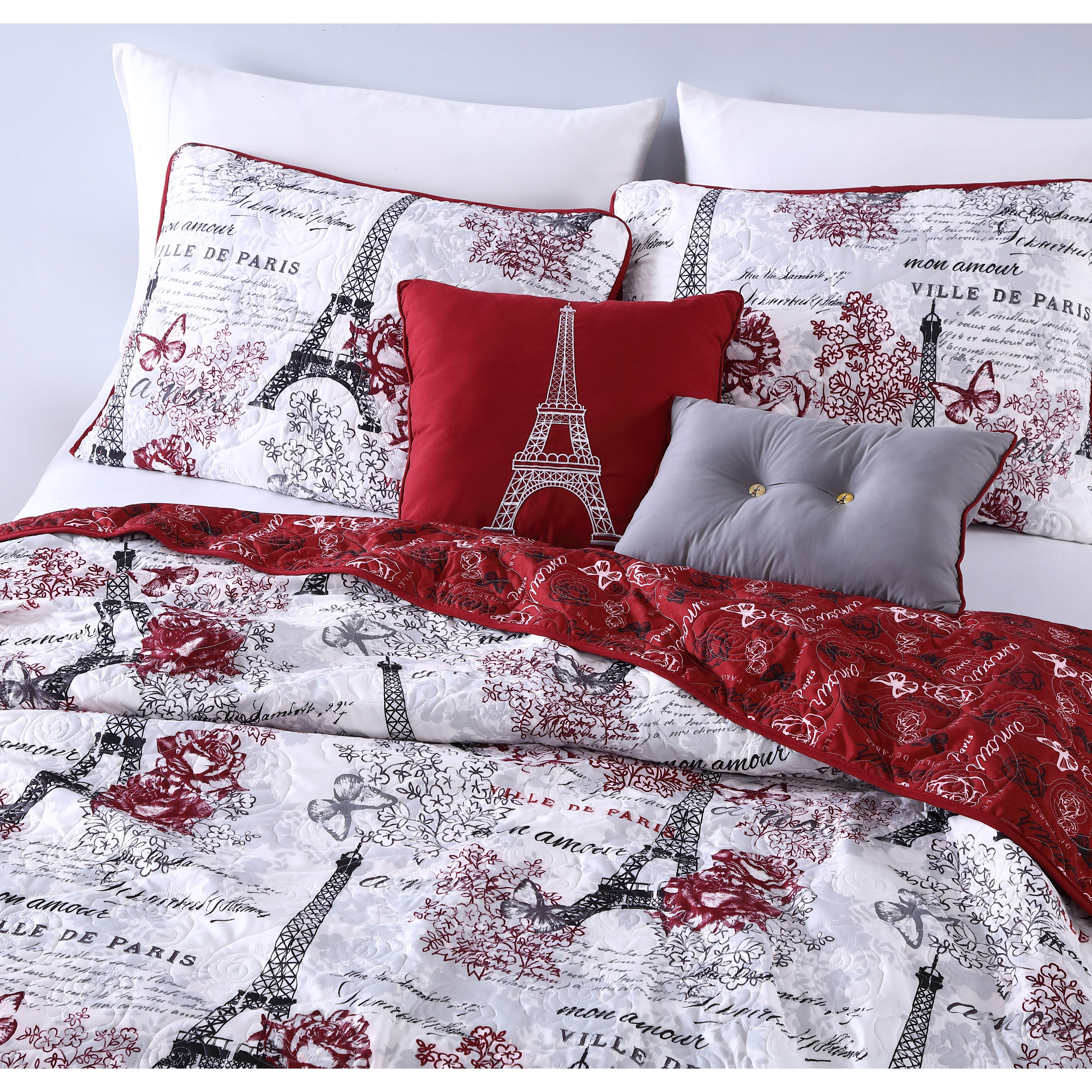 Amour 4 5 Pc Reversible Quilt Set With Decorative Pillows On Sale Overstock 16279586