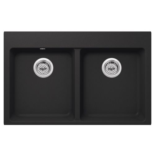"Miseno MGR33225050 Carolina 33"" Double Basin Granite Composite Kitchen Sink with 50/50 Split - Compatible with Drop-In,"