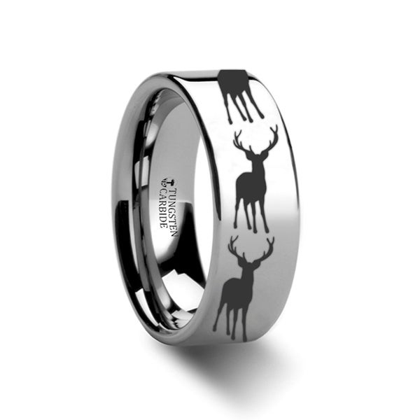 THORSTEN - Stag Fawn Deer Elk Print Ring Engraved Flat Tungsten Ring - 6mm