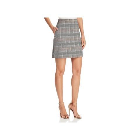 Theory Womens Mini Skirt Wool Printed