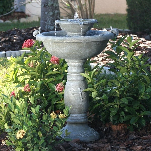Smart Solar Gray Weathered Stone Country Gardens 2 Tier Solar On Demand