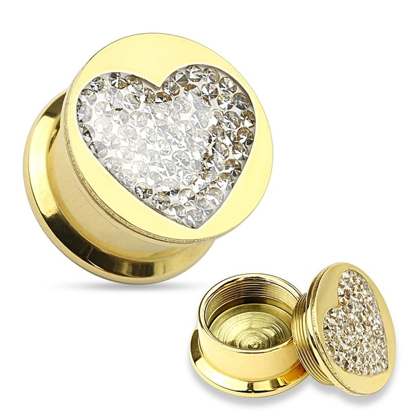 Clear Gem Paved Heart Gold IP 316L Surgical Steel Screw Fit Plug (Sold Individually)