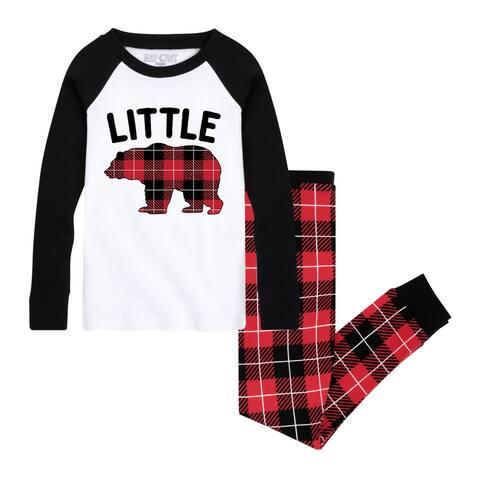 Little Bear - Toddler Matching Family Christmas Pajama Set - White/Black Red Buffalo Plaid