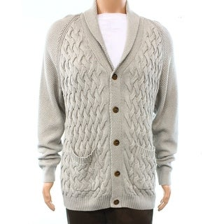Tasso Elba NEW Gray Ash Heathered Mens Size Large L Cardigan Sweater