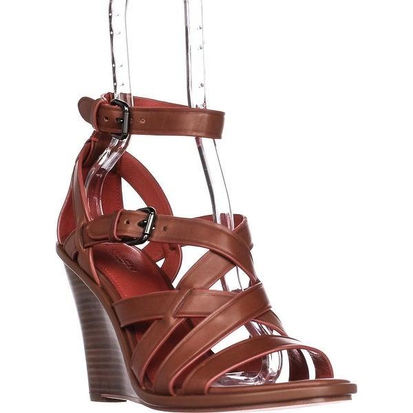 COACH Dawn Strappy Wedge Sandals, Saddle - 9 us