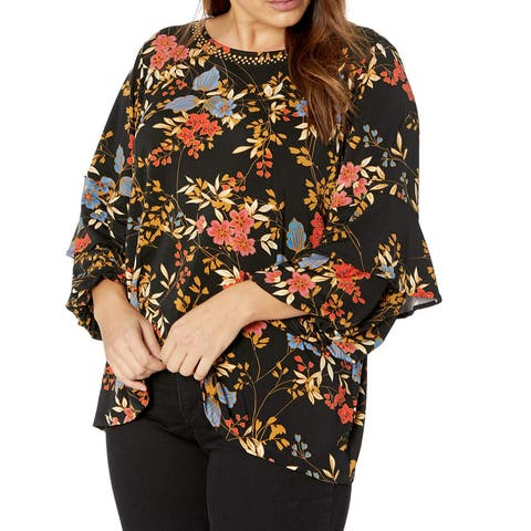Ruby Rd. Black Womens Size 2X Plus Ruffle-Sleeve Floral Blouse