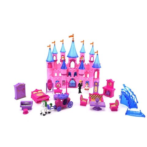 WonderPlay Battery Operated Castle Set with Light & Music 3 Years + - Pink