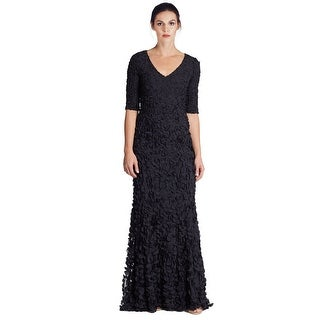 Theia Petal Elbow Sleeve V-Neck Evening Gown Dress