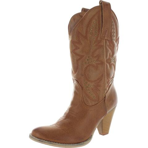Very Volatile Womens Wagon Wheel Cowboy, Western Boots Faux Leather Studded - Tan