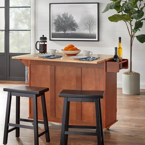 3 Drawer Drop Leaf Kitchen Cart On Sale Overstock 20602808