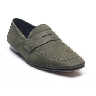 Bruno Magli Men's Leather Garoa Penny Loafers Shoes Dark Green Olive