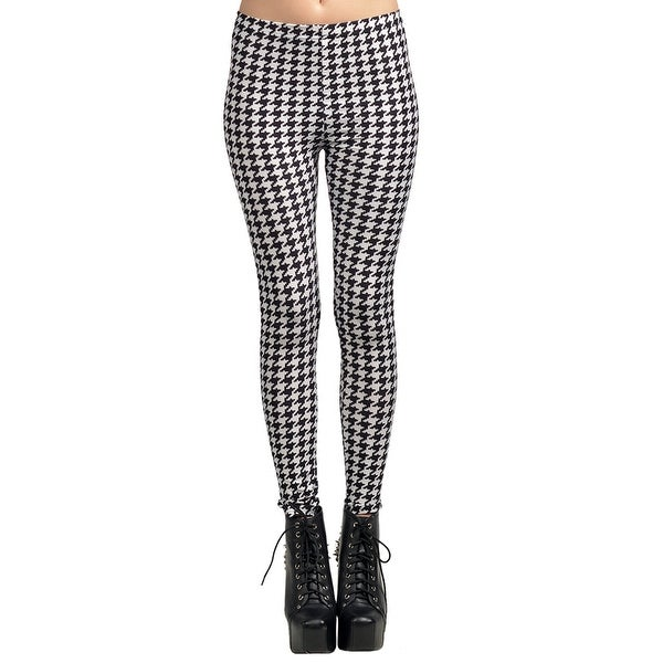 Fashion Lady Pattern Printed Houndstooth Pattern Stretch Tight Leggings Skinny Pants