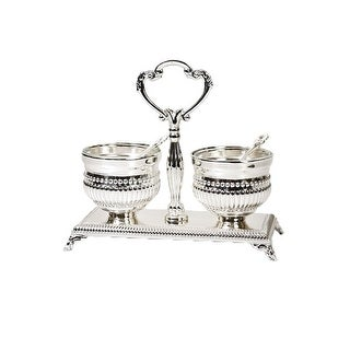 Salt Holder Double Beaded Design Silver Plated