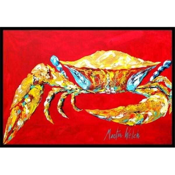 Carolines Treasures MW1116MAT 18 x 27 in. Crab Blue On Red Sr. Indoor & Outdoor Doormat