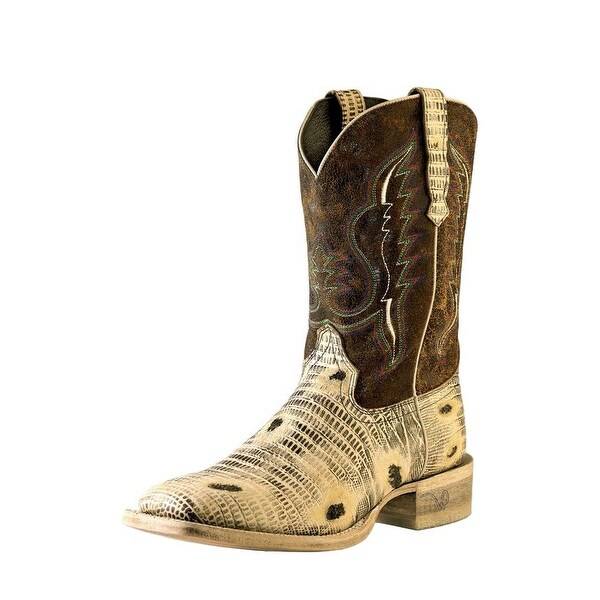 Outlaw Western Boots Mens Square Lizard Distressed Oryx Saddle