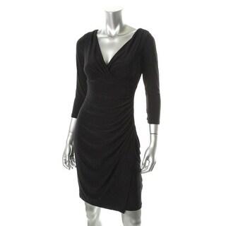 Ralph Lauren Womens Petites Matte Jersey 3/4 Sleeves Cocktail Dress - 4P
