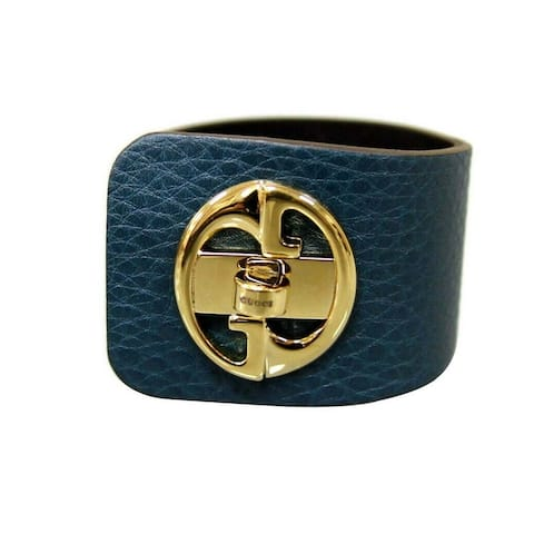 Gucci Women's 1973 Blue Leather Bracelet Bangle with Gold G Size 18 253514