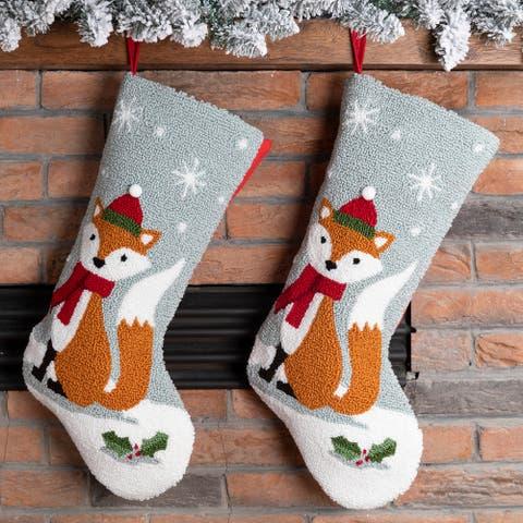 Glitzhome Christmas Hooked Stocking Reindeer Fox Cat Dog