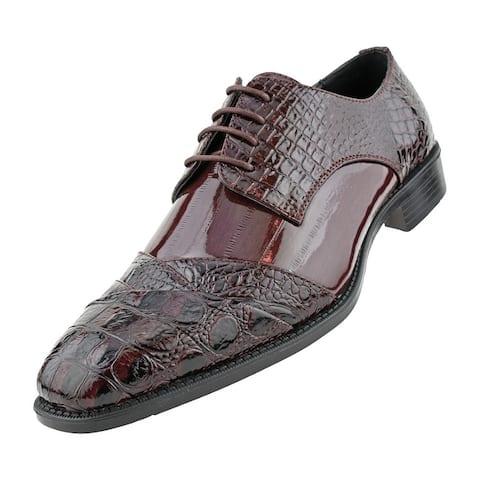Bolano Bandit - Mens Croco Folded Cap Toe Oxford, Laced Tie Dress Shoe