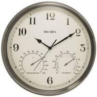 Westclox 49832 Big Ben Indoor Outdoor Wall Clock, Brushed Nickel