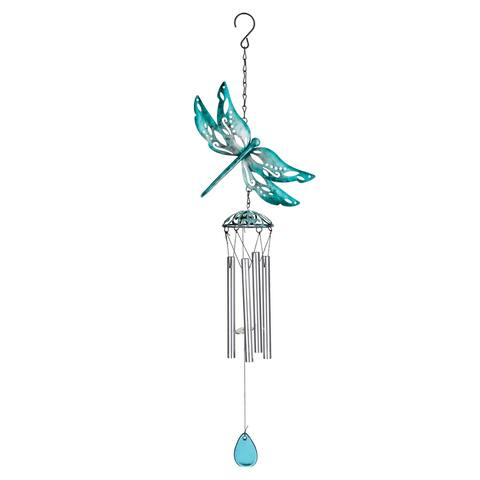 Turquoise Dragonfly Wind Chime - Blue