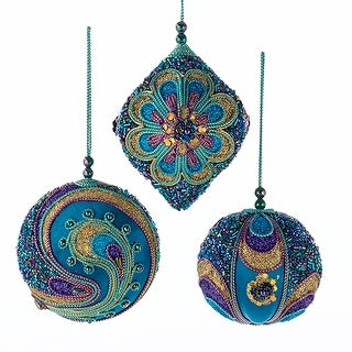 Teal Purple and Gold Beaded Christmas Holiday Ornaments Set of 3