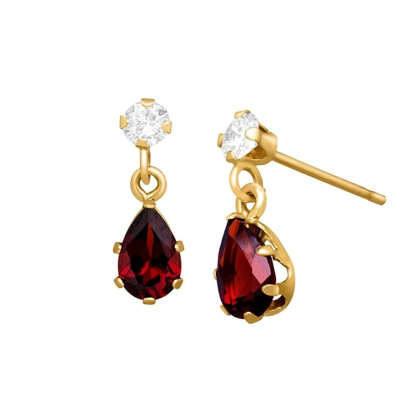 1 ct Natural Garnet & Natural White Topaz Drop Earrings in 10K Gold - Red