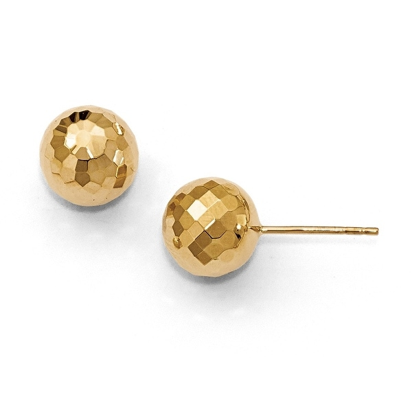 14k Gold 9.4MM Diamond Cut Ball Earrings