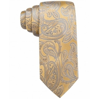 Countess Mara NEW Yellow Gray One Size Morris Paisley Classic Neck-Tie