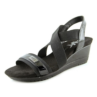 Anne Klein Sport Sherry Women  Open Toe Canvas Black Wedge Sandal