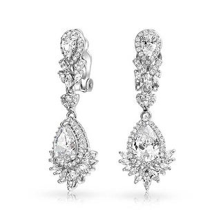 Bling Jewelry Pear CZ Bridal Chandelier Clip On Earrings Rhodium Plated