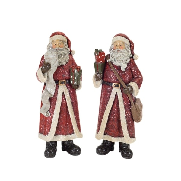 "Pack of 2 Old World Santa Claus with Gifts, Messenger Bag and List Christmas Figurines 12.5"" - WHITE"